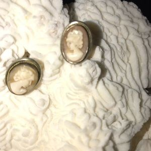 Jewelry - 1920's Antique Real Silver & Bone Cameo Earrings